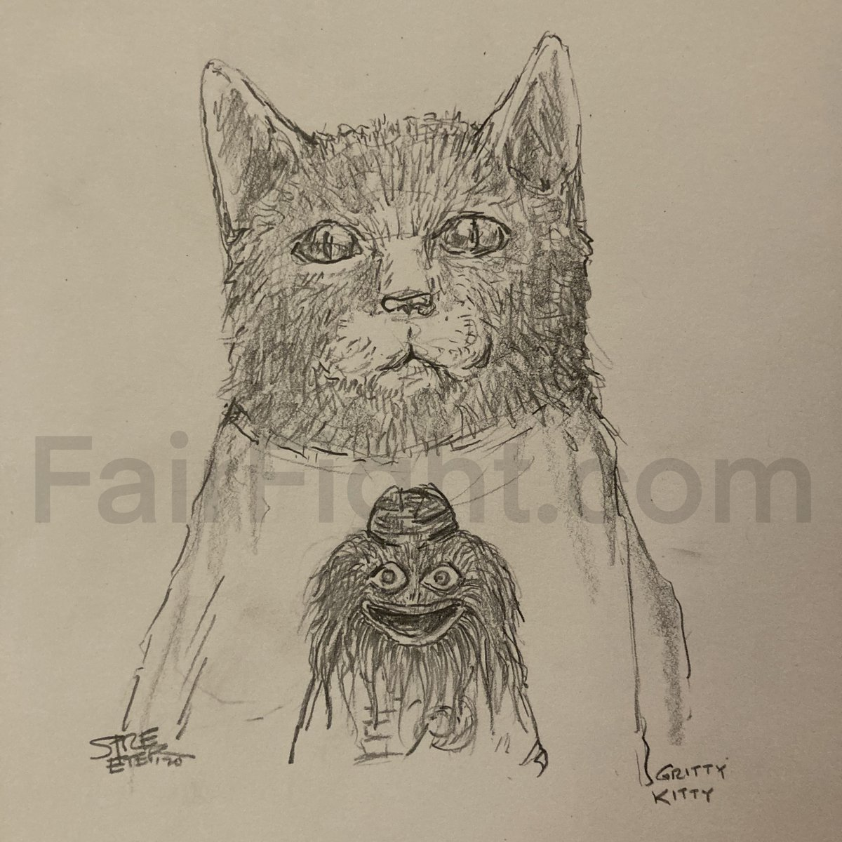 Reminder: If you donate to  and DM to let me know, I'll send you a high-res digital copy of Gritty Kitty here, of @quarantinebook fame  #art #gritty #kitty #fairfight #georgia #senate