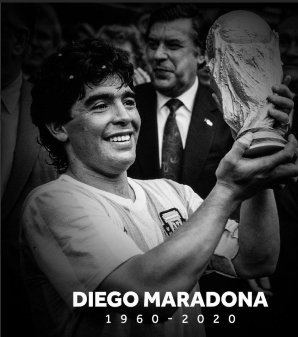 The hand of God is going into the hands of God. R.I.P to one of the greatest footballer #Maradona #Legend 🙏🏿