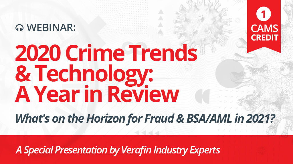 [1 CAMS Credit - Webinar] 2020 crime trends and technology: Don't miss our special year-end presentation. https://t.co/9csX7aD2t6 https://t.co/cKuMWUStQJ