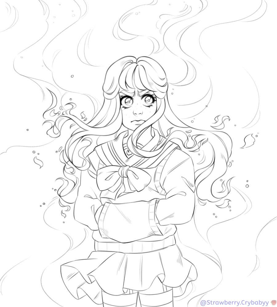✵.。.✰ 𝔾𝕚𝕣𝕝 𝕠𝕟 𝔽𝕚𝕣𝕖 ✰.。.✵  #digitalart #digitalillustration #digitalartist #digitalpainting #girl #girlonfire #anime #animegirl #animeart #Flames #fire #originalcharacter #originalart #oc #Emotions #art #artistsoninstagram #ibispaintxart #illustration #WIP