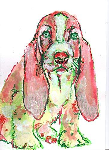 Basset Hound Wall Art Print, Colorful Dog Artwork, Dog Memorial Gift, Abstract Wall Art Print, Dog Painting Picture Hand Signed By Pet Portrait Artist Oscar Jetson Choice Of Sizes  #painting #decor #art