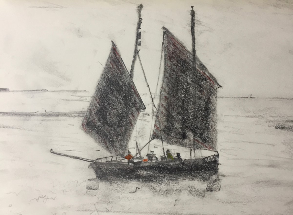 """Sketch of the day: Cornish Lugger """"Barnabas"""" Pencil paper 21 x 15 cm #art #drawing #dailysketch #StaySafe"""