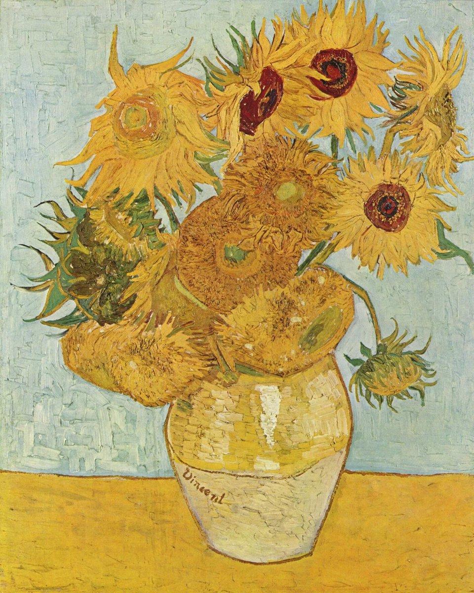 Zonnebloemenis een seriestillevens gemaakt door deNederlandsekunstschilderVincent van Gogh. Van de serie zonnebloemen bestaan er drie schilderijen met vijftien zonnebloemen in een vaas en twee schilderijen met twaalf zonnebloemen in een vaas. #vincentvangogh #vangogh #art