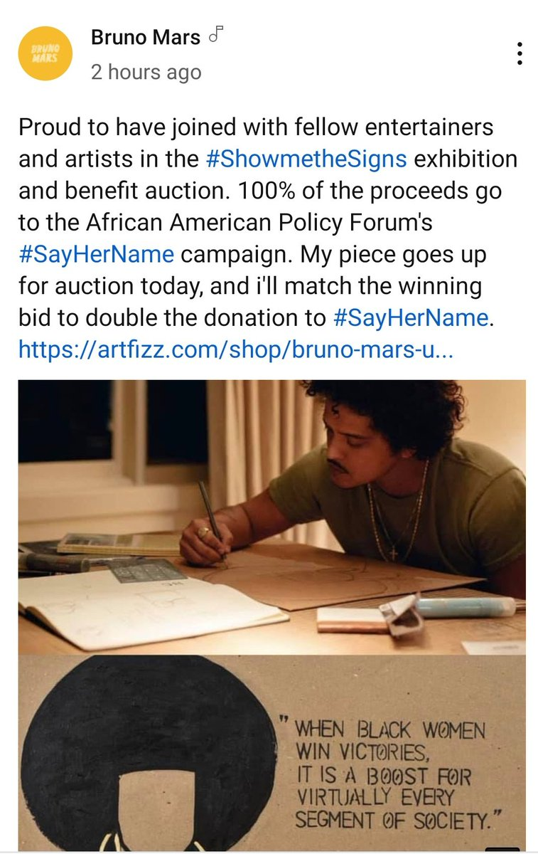 @BrunoMars really gonna double the bid. Such a fucking legend 😎✨ #SayHerName #showmethesigns