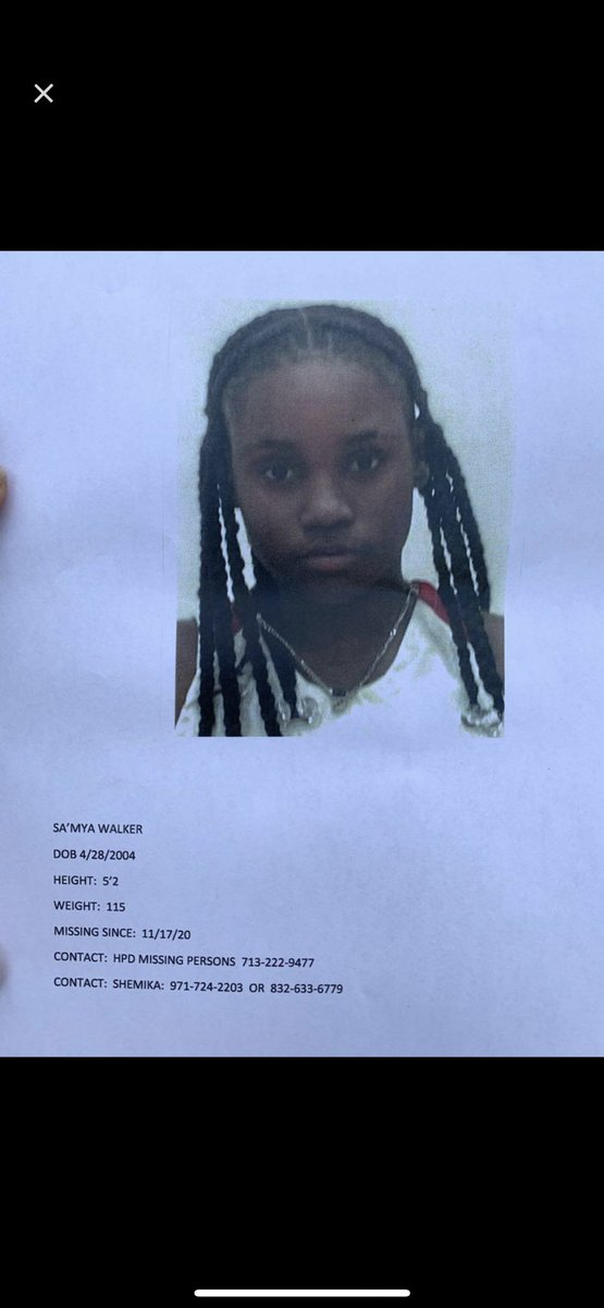 Houston/ Missouri City Area, please be on the lookout for Sa'mya Walker. She's been missing since the 17th of this month!!!