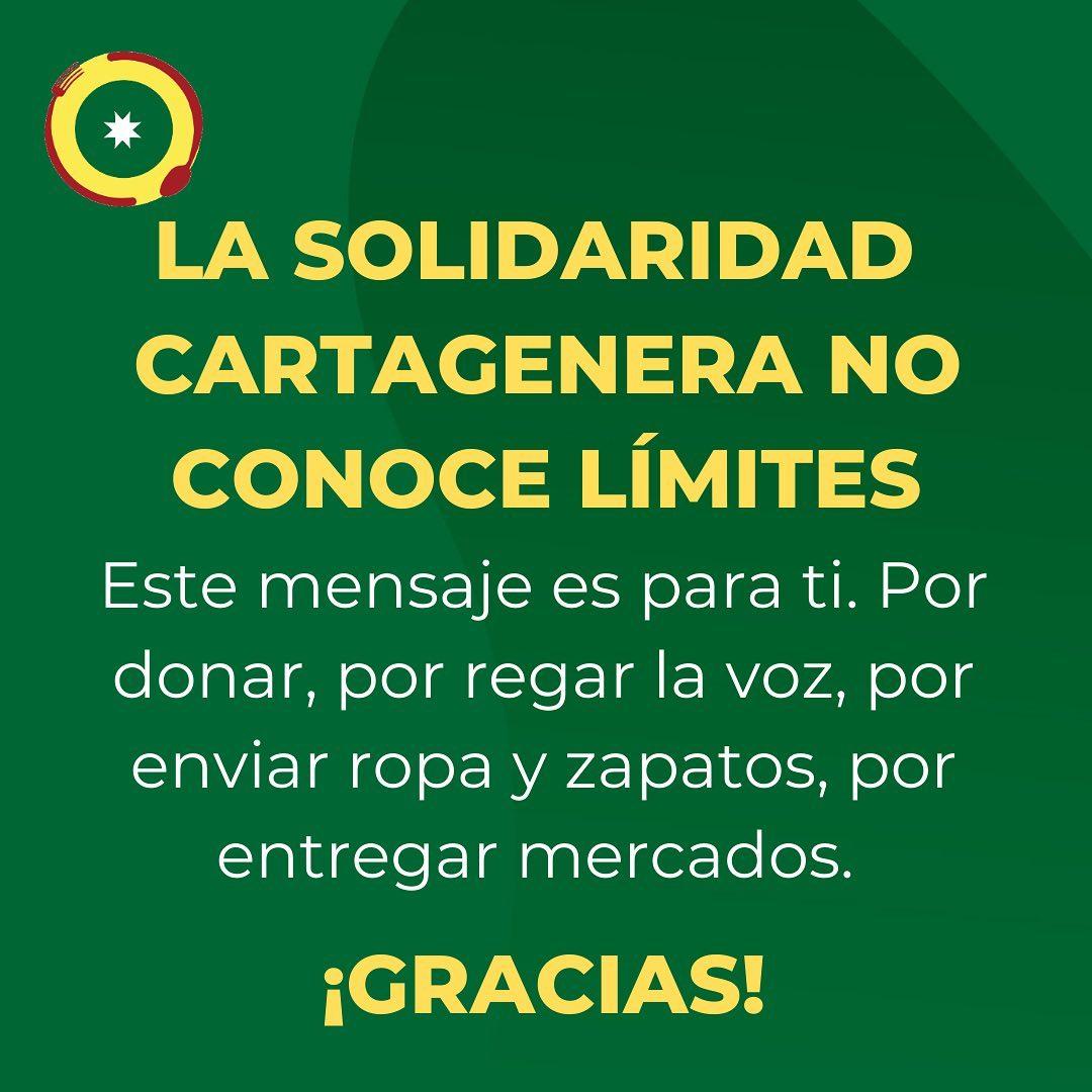 💛Este mensaje es para cualquiera que haya hecho algo para ayudar💛  Hay muchas formas, ¡sólo mencionamos algunas!  Cartagena nos necesita más unidos y solidarios que nunca, y el espíritu fraterno y humanitario se ha visto en todas partes🙏  #SOSCartagena
