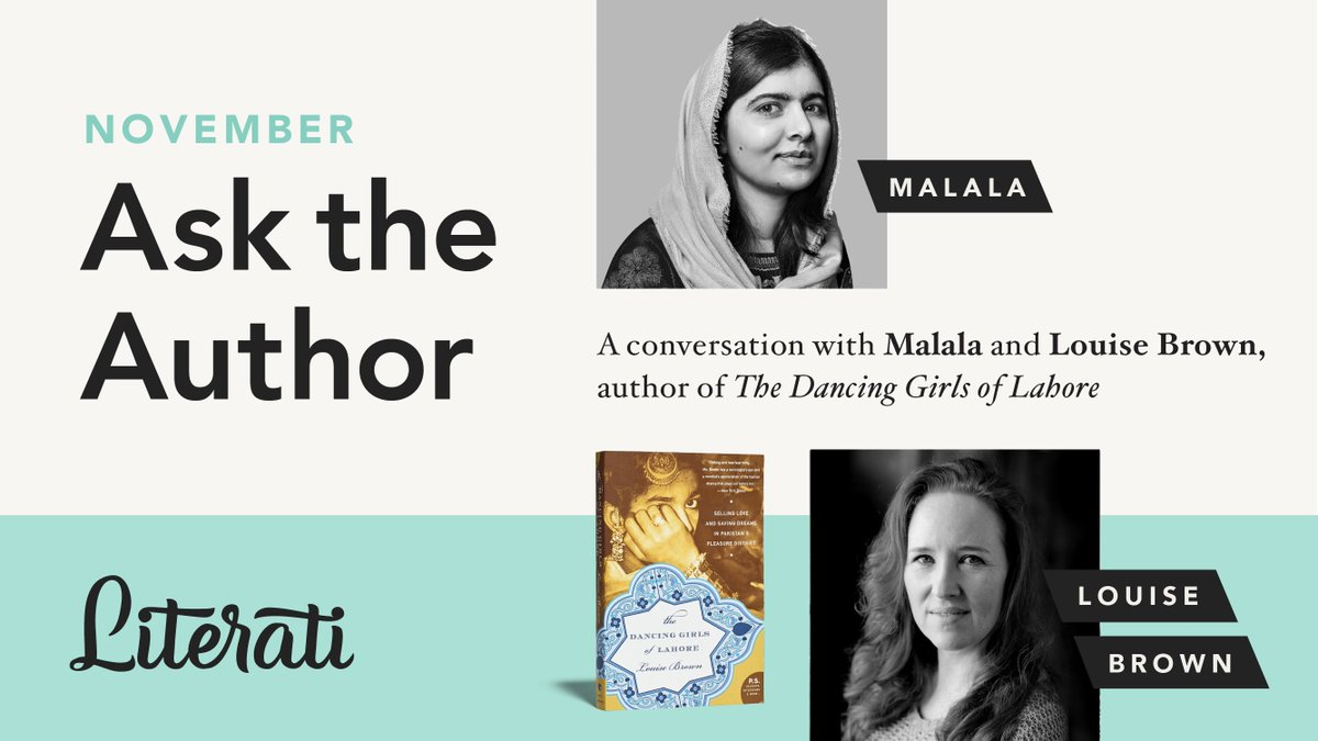 Ask the Author ✨ Sunday, November 29th at 3:00 p.m. EST An exclusive LIVE book club event with @Malala and The Dancing Girls of Lahore author Louise Brown  Open to all Literati book club members Check your inbox for registration info