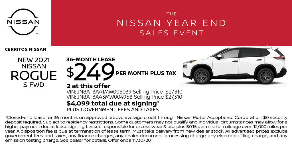 Lease a new 2021 Nissan Rogue S for just $249 per month at Cerritos Nissan! Start shopping online here: https://t.co/yIqXhIZYnw https://t.co/xkxeLwIPDg