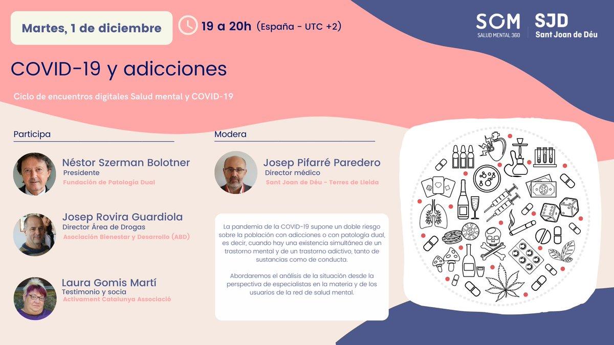 test Twitter Media - 💬 Hablaremos del impacto de la #pandemia en personas con problemas de #adicciones o #patologíadual  Modera: Josep Pifarré. Con @nestorszerman @SEPD_es, Josep Rovira @abd_ong  y Laura Gomis @ActivaMent   📆 1 de diciembre 🕖 19h. 🔗 Inscripciones: https://t.co/lQcGH6fE6B https://t.co/HQrzmWKYrF