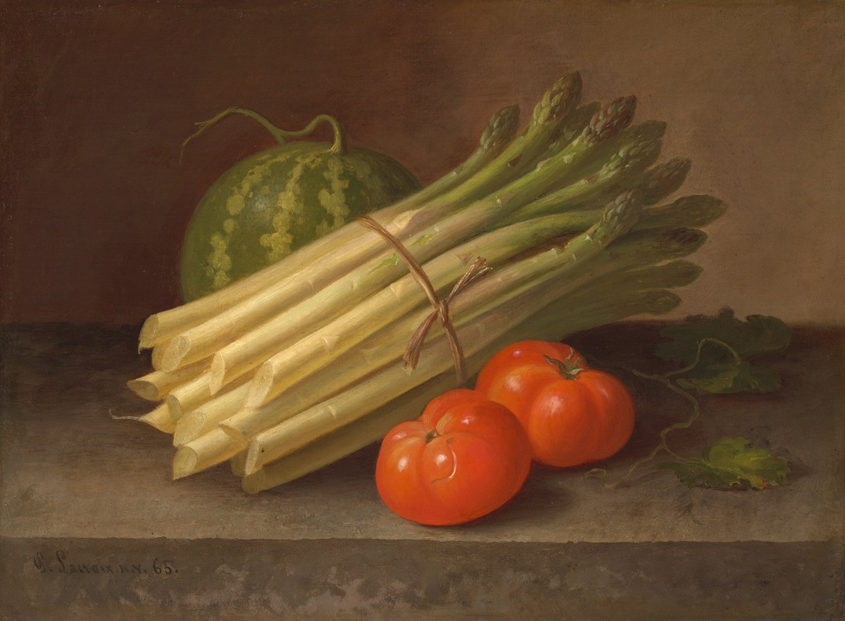 "Veggie Stir Fry?   If you were to make a Thanksgiving meal out of these ingredients alone, what would you create? 🍅  (Paul LaCroix, ""Asparagus, Tomatoes, and a Squash,"" 1865, oil on canvas, 13 1/2 × 16 1/4 in.)  Drop your creative recipes in the comments👇 https://t.co/Rk8dONBrkL"