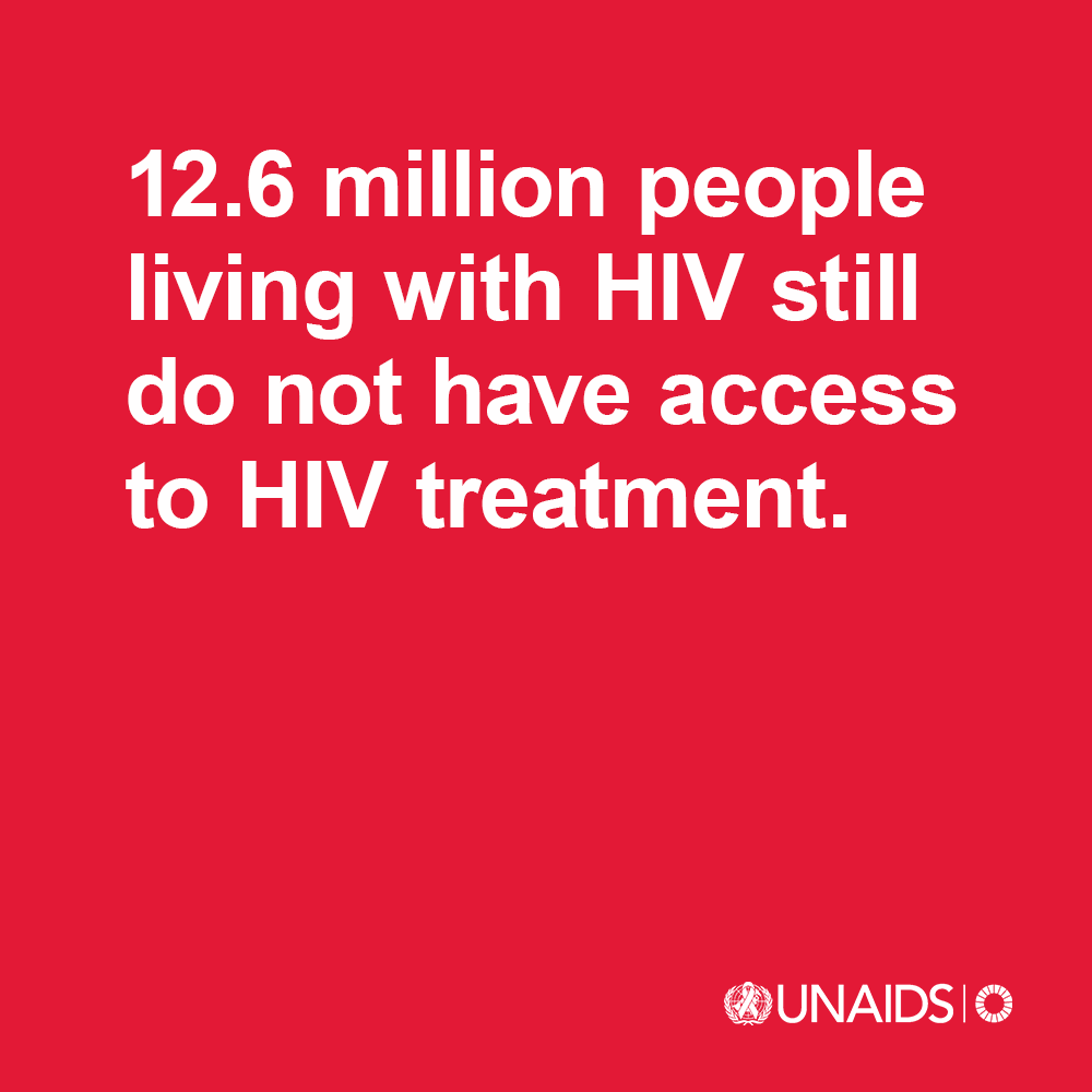 12.6 million people living with HIV still do not have access to treatment that could help them live long, healthy lives.  We need more global solidarity and shared responsibility to ensure health for all becomes a reality.