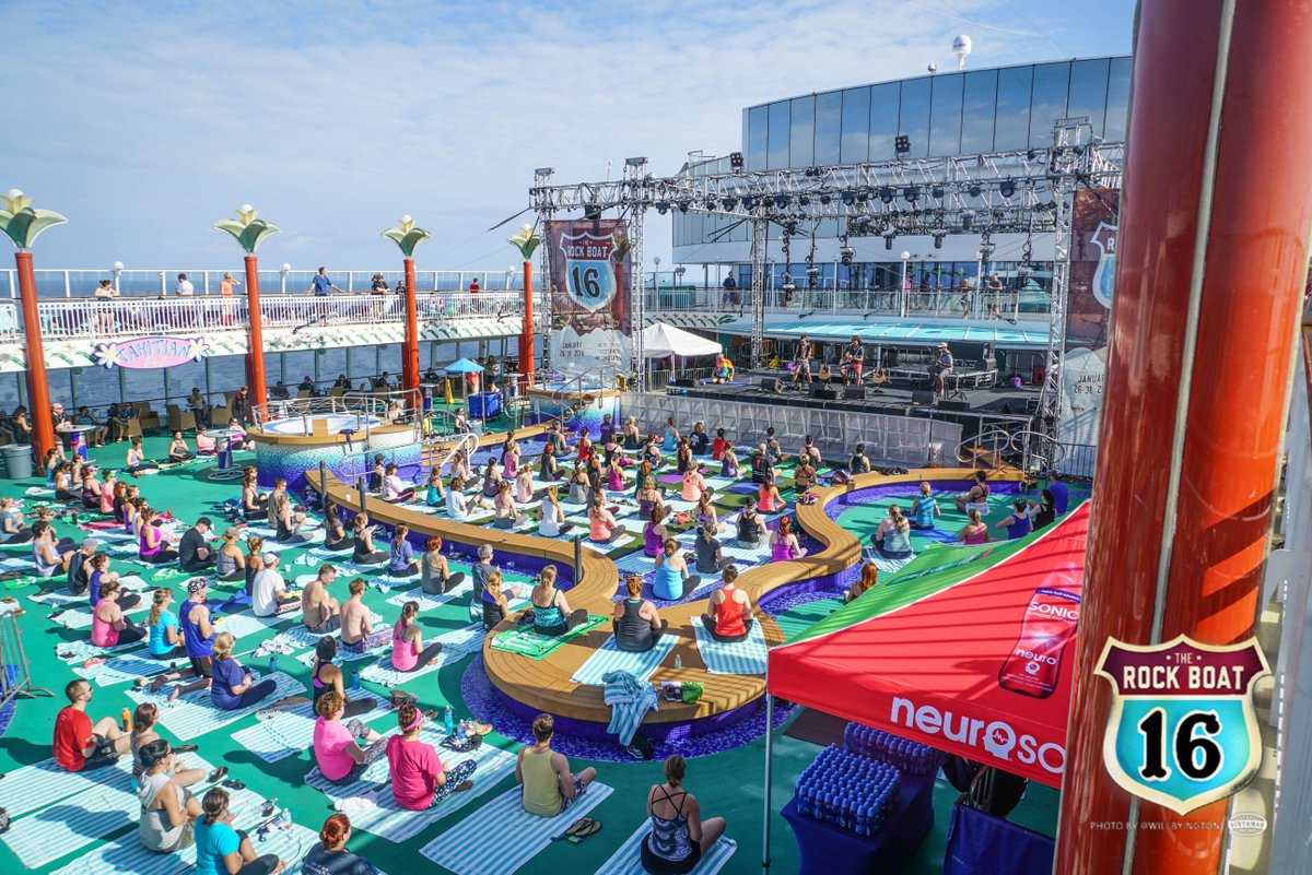 ☀️ Sunny skies and amazing vibes during morning yoga sessions on our pool deck! We cannot wait to be together at sea when the time is right! #SXMLiveLoud