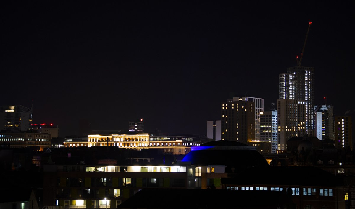 Leedss city centre buildings are looking fine, lit-up against the cold night sky tonight.