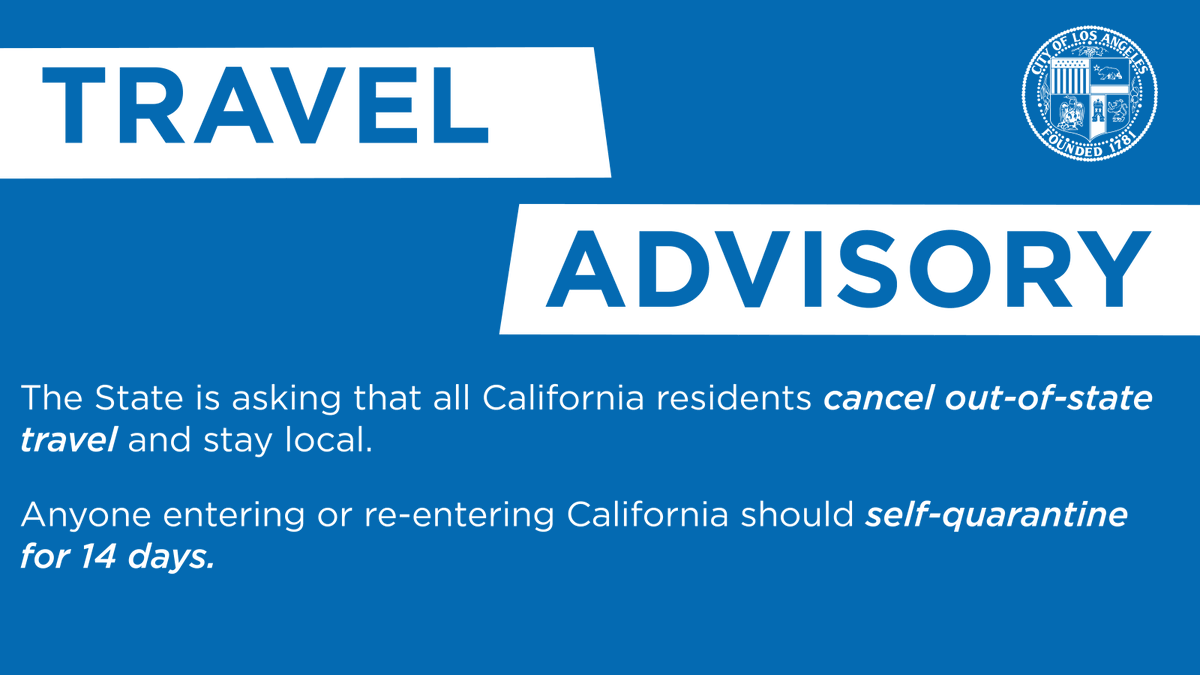 The State is recommending that all residents stay local, but  if you do travel outside of California, all travelers over the age of 16 must submit a Traveler Form online prior to or upon arrival at @flyLAXairport @VanNuysAirport, or @unionstationla.  ➡️