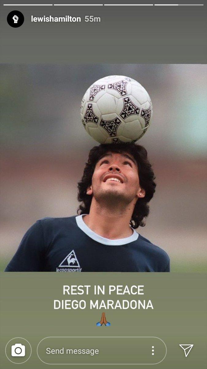 El septuple campeón del mundo Lewis Hamilton 🇬🇧 también se sumó a los posteos para recordar a Diego Maradona.  #Maradona #F1 #lewishamilton https://t.co/RBrcQ8wORt