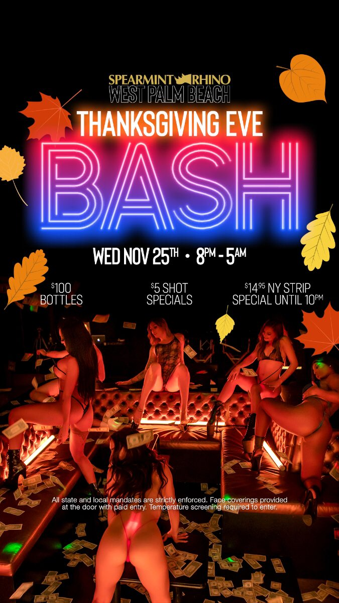 Come celebrate Thanksgiving eve with us!!! $100 bottle specials all night long and of course only the hottest entertainers of west palm beach. #girlsgirlsgirls #gobblegobble #thirsty #colddrinks #happyturkeyday #hotgirls #rhino #comeplay