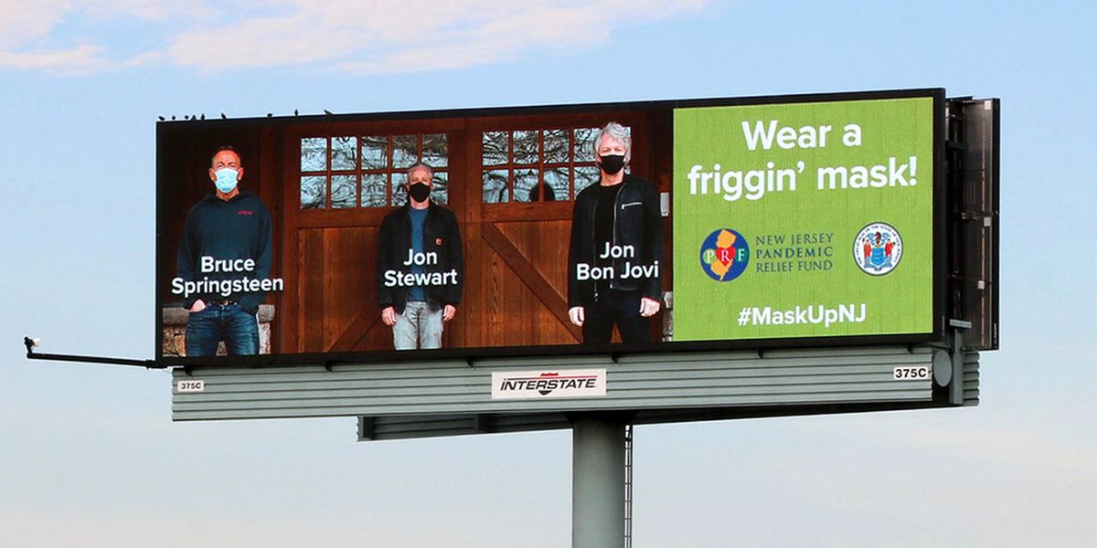 Springsteen, Bon Jovi and Jon Stewart team up on 'Wear a friggin' mask' billboard