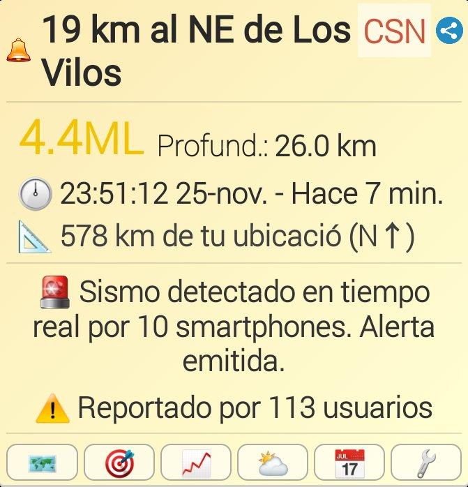 #sismo M4.4,  19 km al NE de Los Vilos. Reportado a través de la app Sismo Detector. Descarga la app desde https://t.co/pFyeZOBXBT para recibir alertas de #sismo en tiempo real @SismoDetector https://t.co/fMC9mxIfGj