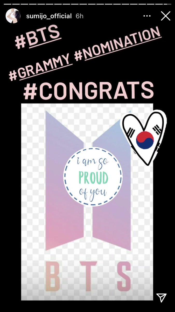 [📸]  Sumi Jo (penyanyi Korea pertama yang memenangkan Grammy) memberi selamat kepada @BTS_twt atas nominasi mereka di Instagram Story.  🔗  #BTS #방탄소년단 @BTS_twt