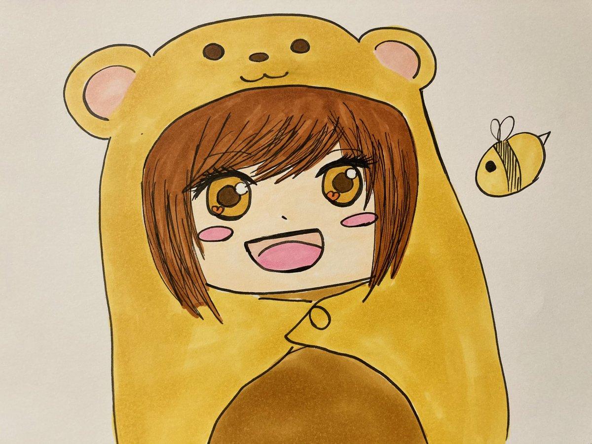 実はくまばちも妹キャラでーす✨うまるちゃんぽい絵柄で描いてみました!!!I'm a younger sister too btw!I drew my original character Kumabachi-Chan in Umaru Style!!!#絵描きさんと繋がりたい #アナログイラスト #干物妹うまるちゃん #イラスト #animedrawing