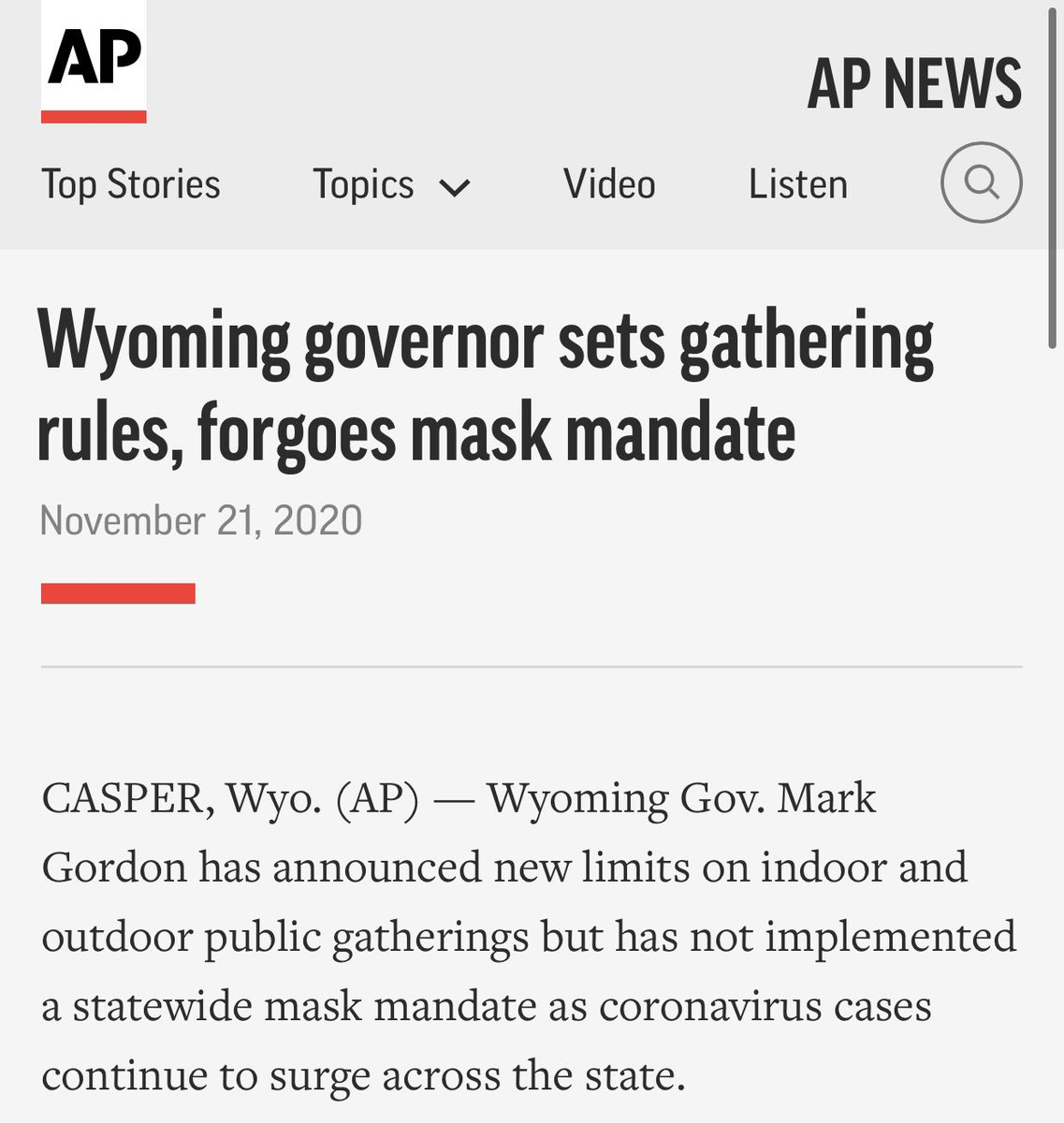 BREAKING—Wyoming Governor Mark Gordon tests positive for #COVID19. ➡️ 4 days ago: Same governor forgoes mask mandate. apnews.com/article/wyomin…