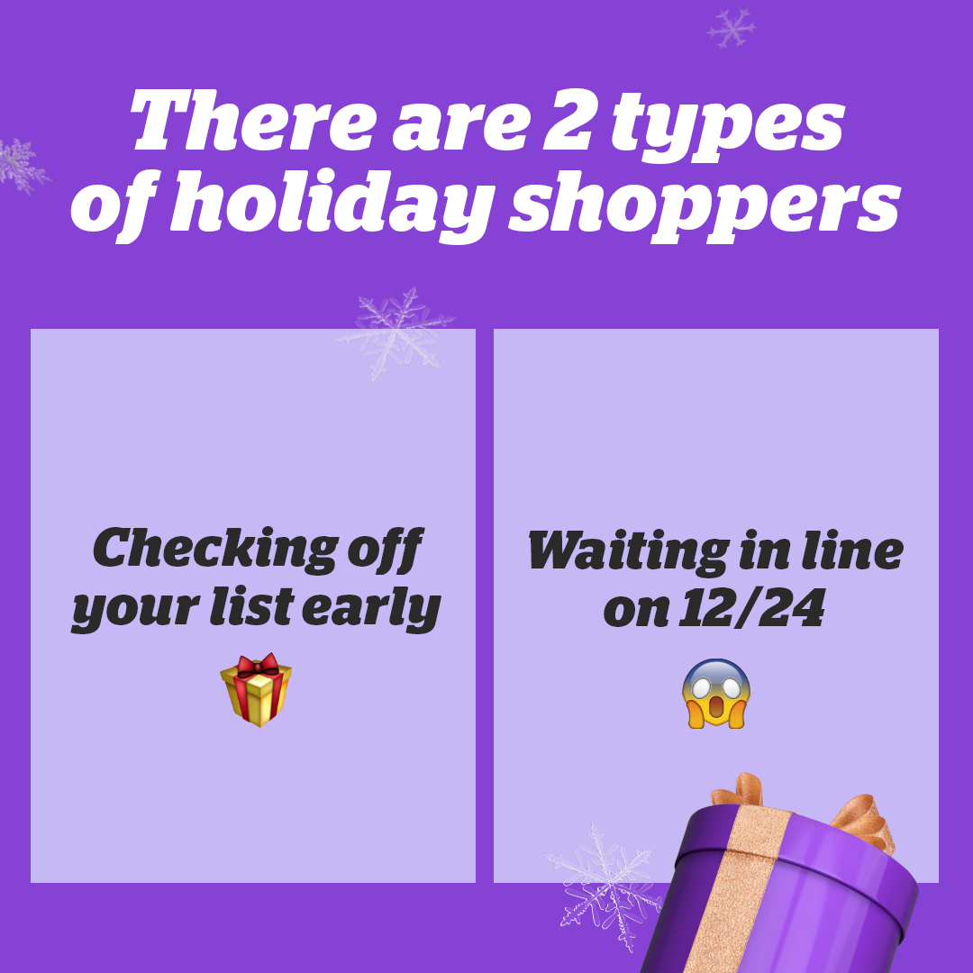 Are you running to the store on Christmas Eve or is your gift shopping done weeks early? Comment with a 😱 or 🎁 to cast your vote!