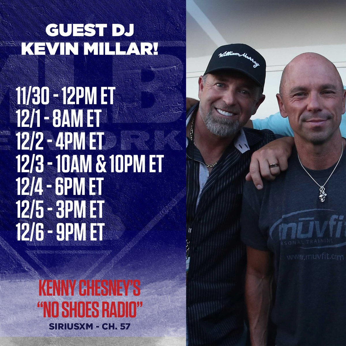 ⚾️ @KMillar15 + @kennychesney 🎶 Catch our guy 1-5s guest DJ spot on @SIRIUSXMs @noshoesradio all week, beginning today at 12pm ET.