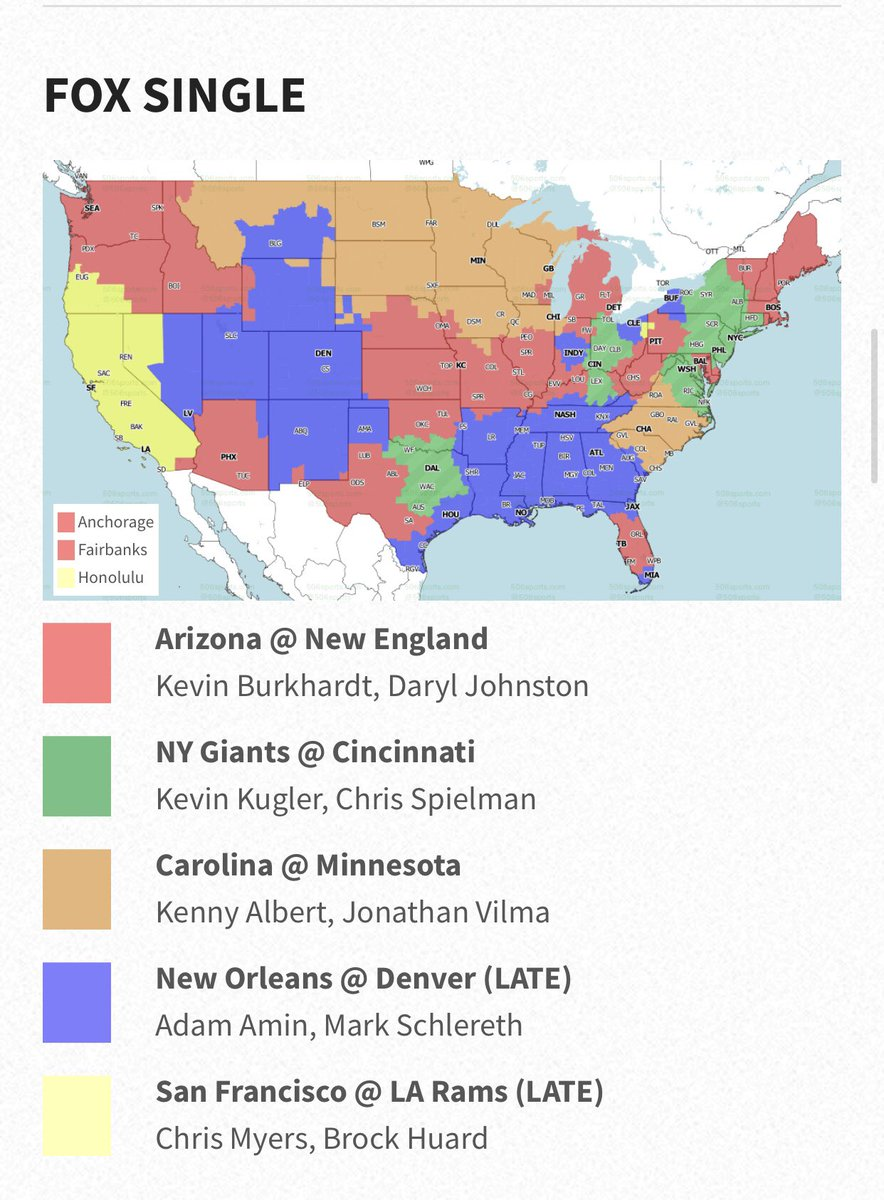 The @506sports has posted there maps for Sunday's nfl games.   early games on cbs   Huntsville, Birmingham, Montgomery will receive the titans vs colts   Mobile - dolphins vs jets   On fox everyone in the state of Alabama will get the saints vs Broncos at 3:25. https://t.co/CkJUgb41RH