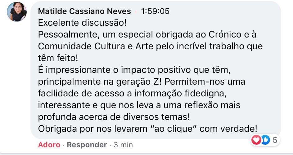 O nosso editor João Estróia Vieira esteve a representar a Comunidade Cultura e Arte num debate (digital) sobre