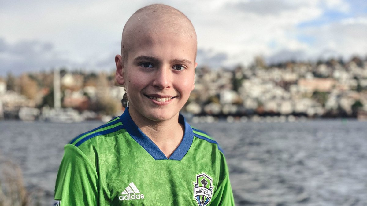 Meet Carson from @seattlechildren's, our Honorary Team Captain for #SEAvLAFC!   Carson is 13 years old and plays hockey, golf and the drums. His amazing attitude while fighting cancer inspires us all. 💚      #SeattleChildren  #KickChildhoodCancer #AustenEverettFdn