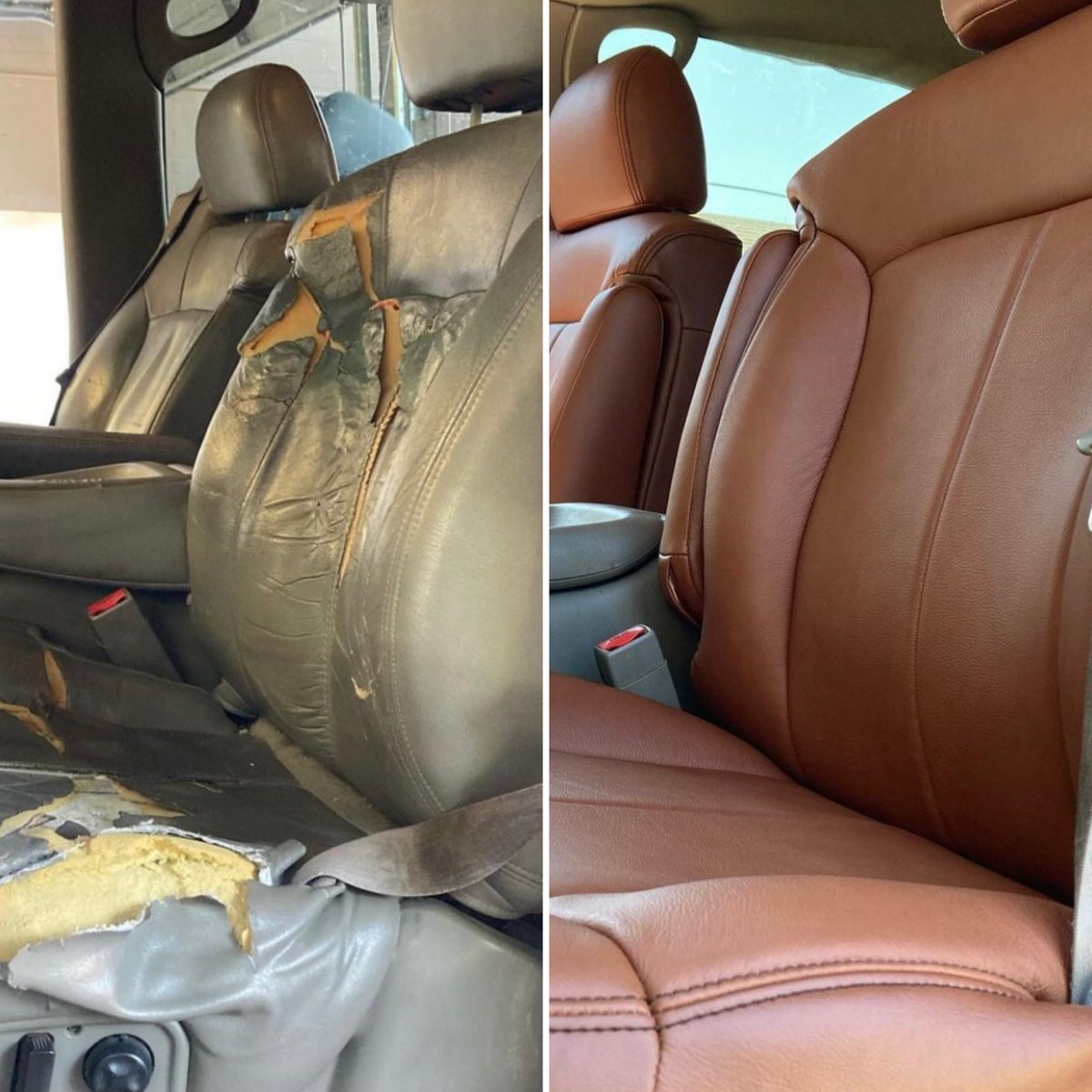 Let's hope our turkeys turn out as golden-y brown as these seats 🦃 - amazing transformation by @seatzetc  Curious about Katzkin? Give us a call at 877-811-8840!  #beforeandafter #gmcsierra #gmc #loveyourdrive #becauseclothsucks #leatherisbetter #katzkin #katzkinleather https://t.co/lmFm4jF7ui