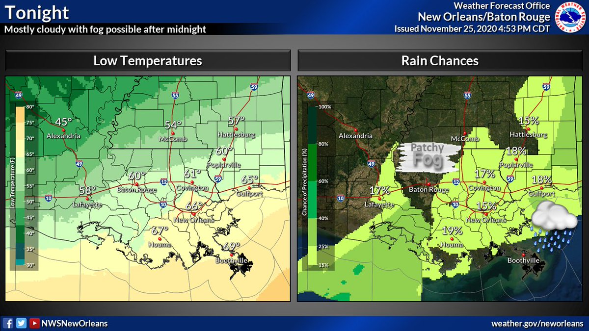 A few lingering showers and storms should be tapering off later tonight.  After midnight, patchy fog could start forming through tomorrow morning.  Rain chances will continue through the weekend. #LAwx #MSwx https://t.co/2twOVEFR5p