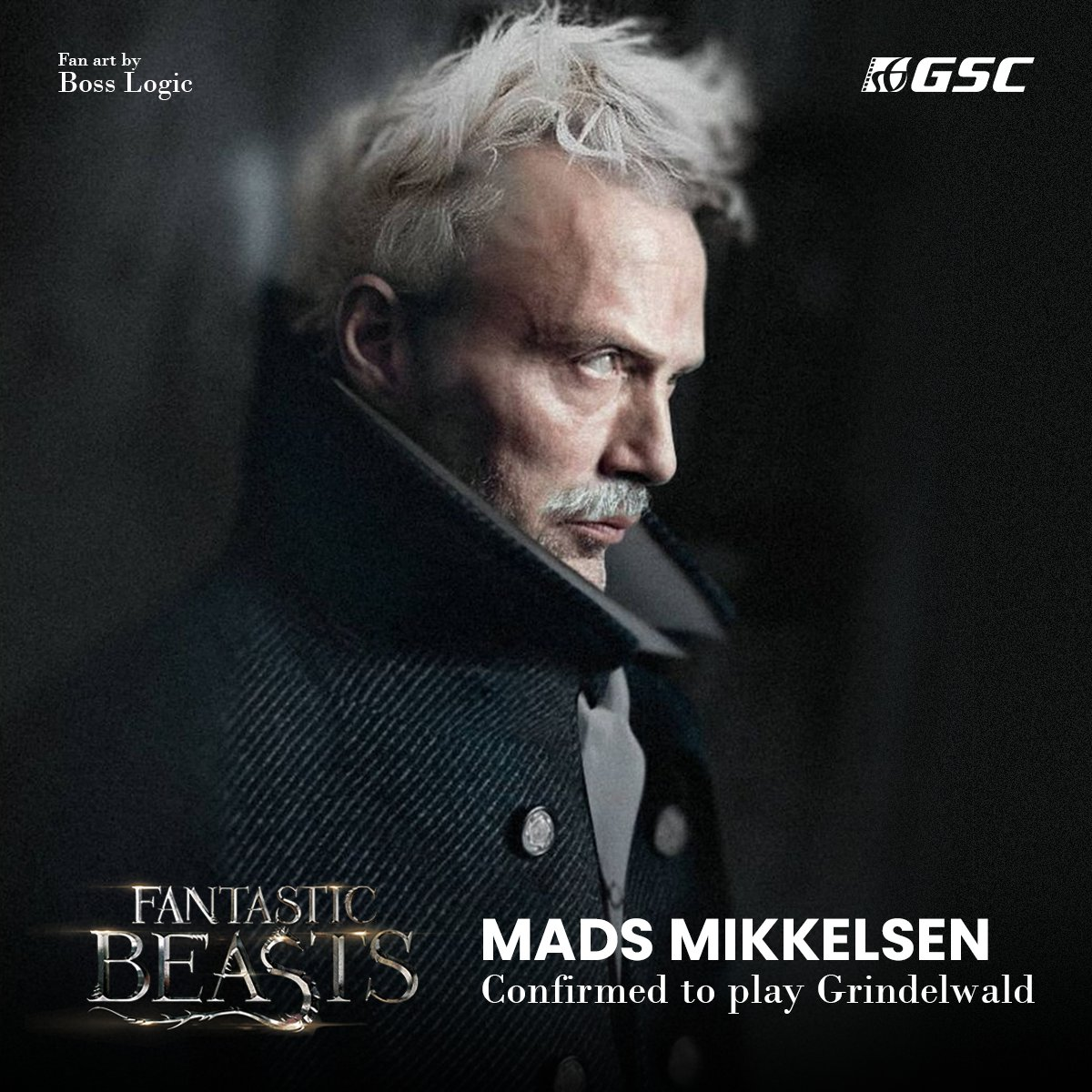 It's official - Mads Mikkelsen has been confirmed to replace Johnny Depp to play Gellert Grindelwald in the upcoming #FantasticBeasts sequel.  Fantastic Beasts 3 is currently in production in London, and will open in theaters July 2022.  Awesome Artwork by @Bosslogic https://t.co/RxCrvDEWWq