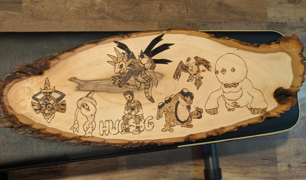 HugS - Coolest thing anyone has made for me. My top 100 Pokemon Showdown squad burned onto a piece of wood. Thank you @Sm0kes94 !