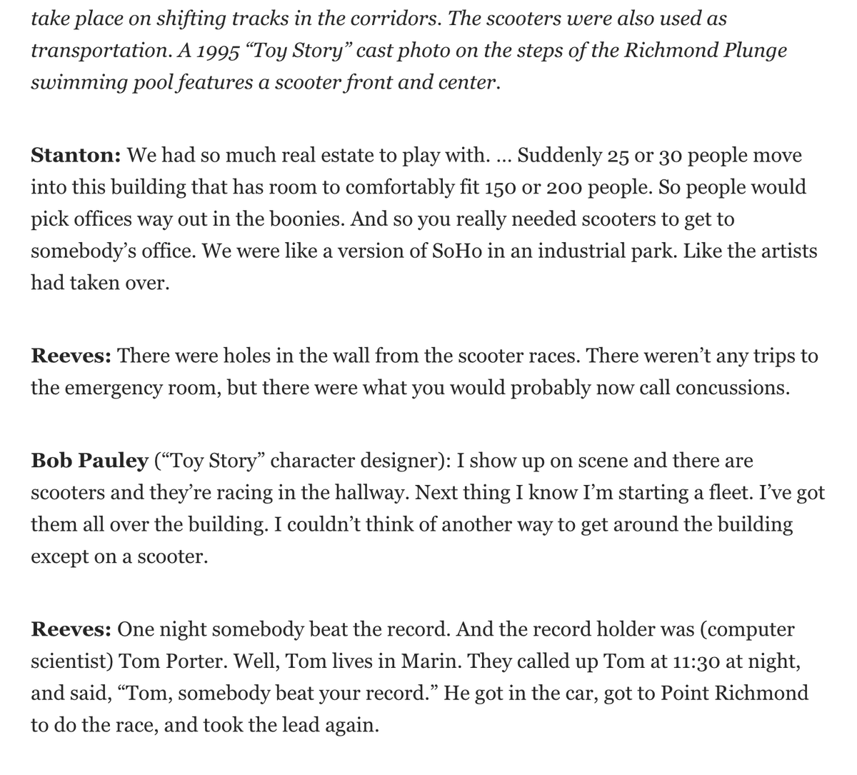I think my favorite part of this #ToyStory25 oral history is the scooter races.  Problem: We didn't have a photo of a @Pixar employee on a scooter. Little did I know @halhickel would have me covered today ...