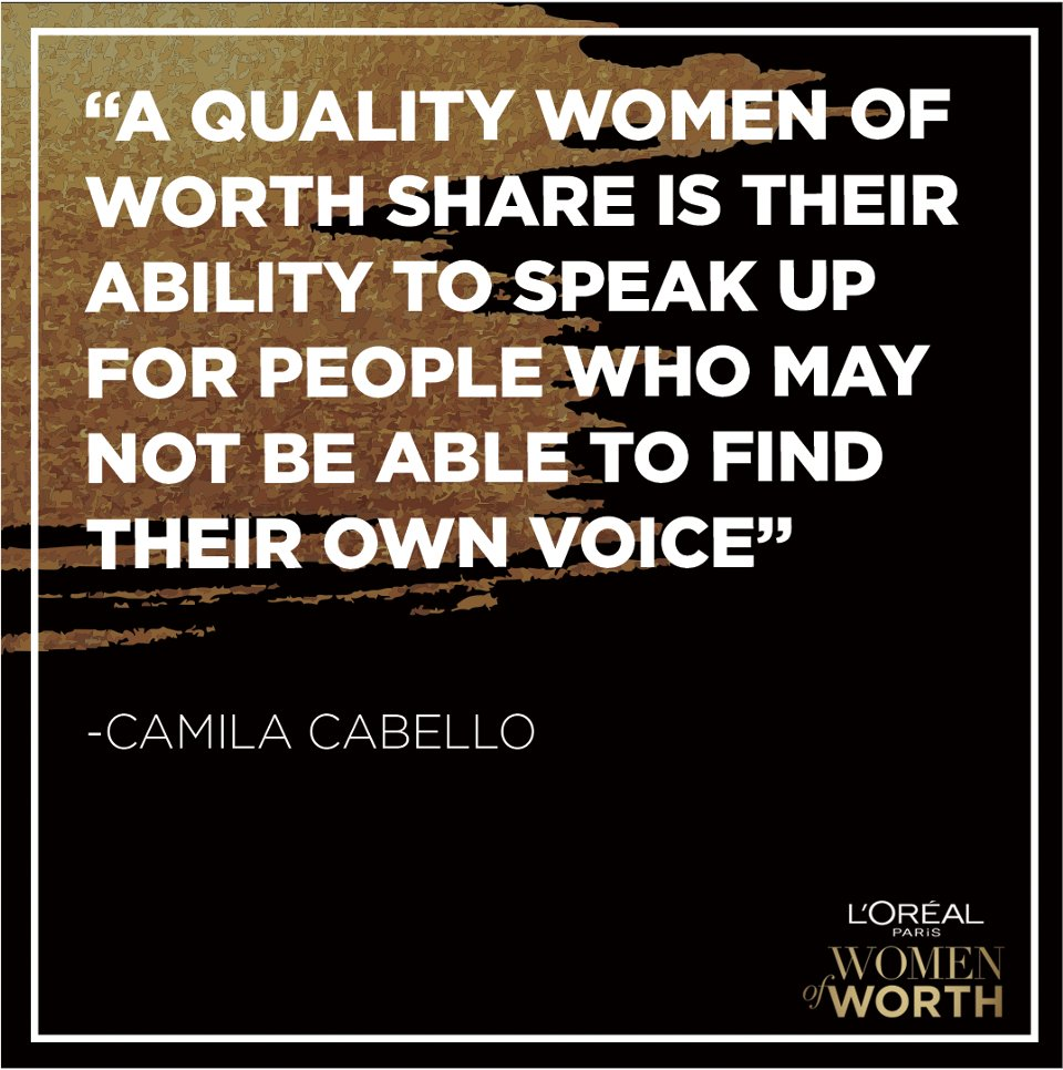 Our 10 incredible #LOrealWomenofWorth go above and beyond for their communities. Tune into @nbc to learn more and  visit  to vote for one woman to receive an additional $25k for her charitable cause! #CamilaCabello
