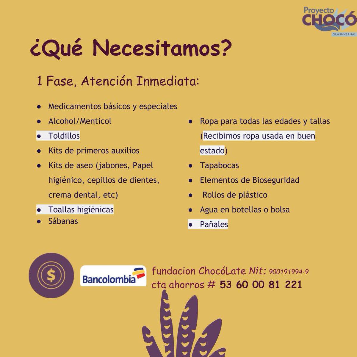 ¡Así vamos! ¡Gracias!  Seguimos recibiendo donaciones en especie en Bogotá, Medellín, Cali y Quibdó.  Hoy hacemos un llamado especial para la donación de implementos de cocina para las familias que lo perdieron todo.    #Chocó #Olainvernal #ProyectoChocó #covid19 #SOSChocó
