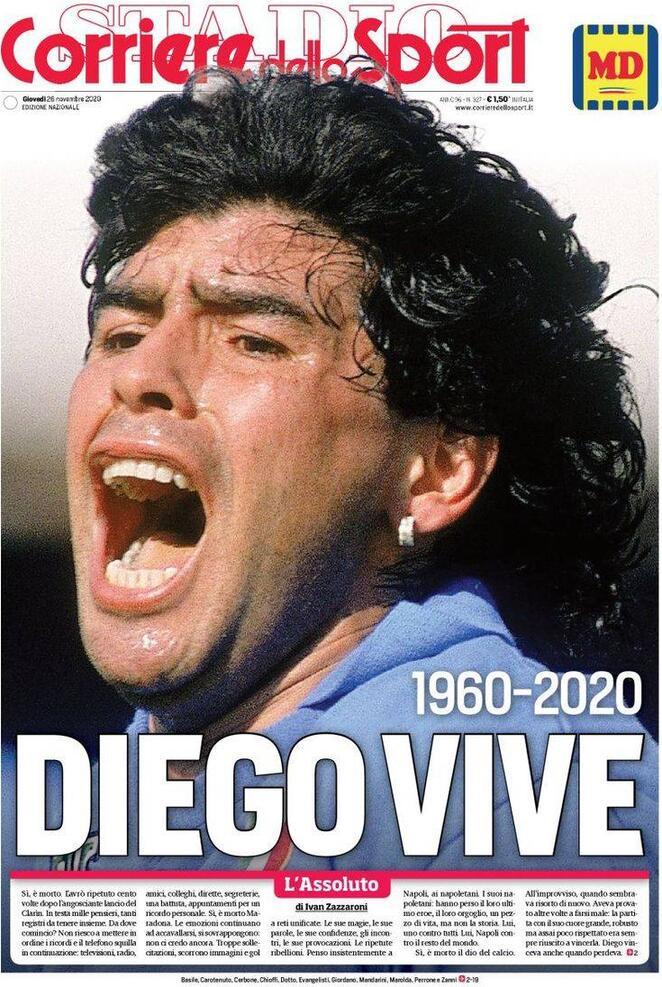 "capa do jornal esportivo italiano Corriere dello Sport, com a foto do rosto de Maradona gritando e a manchete ""Diego vive"""