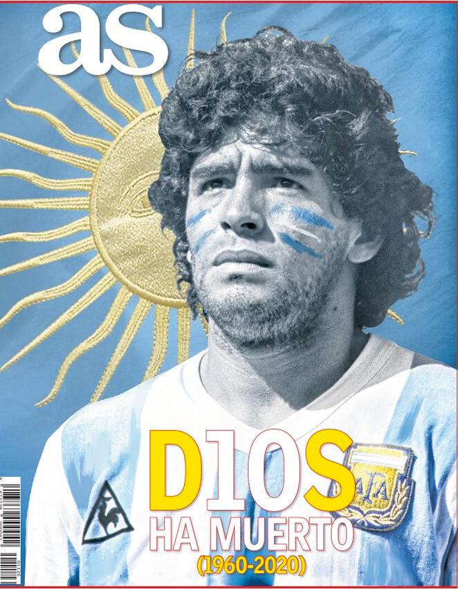 """capa do jornal esportivo espanhol AS, com o rosto de Maradona em tons de azul e a legenda """"Dios ha muerto"""", com o I e o O trocados pelos algarismos do número 10"""
