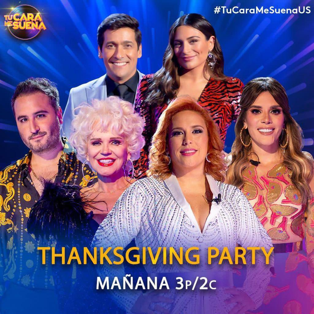 Thanksgiving Party @TuCaraMSuena mañana 3p/2c por @Univision 🎉