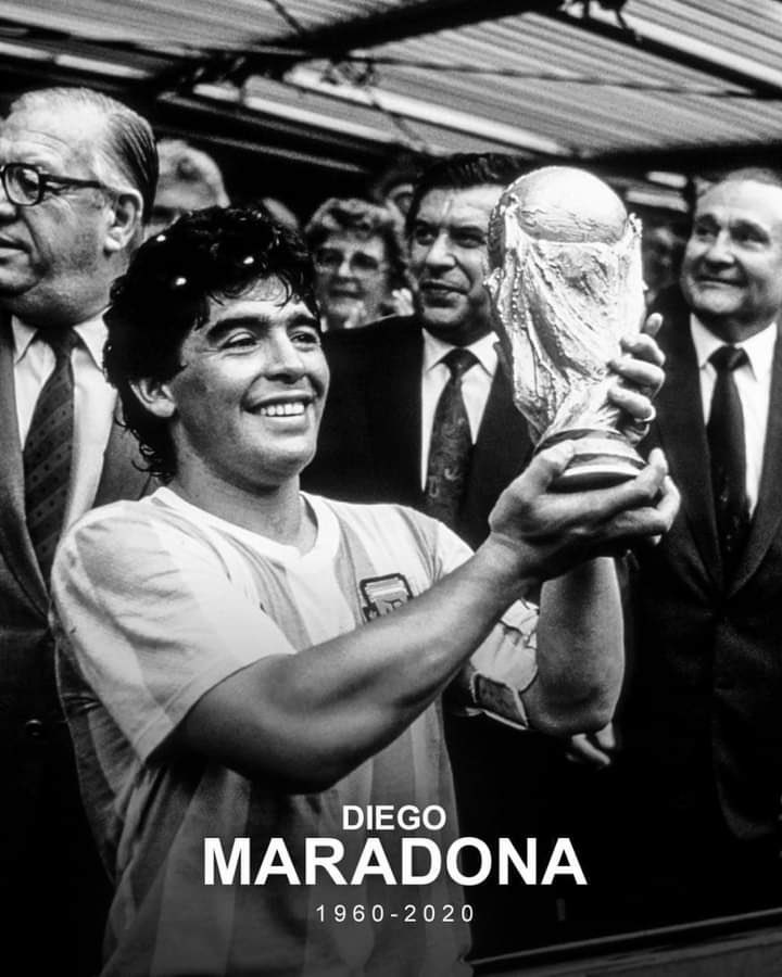 Thanks a ton for the joy and exhilarating moments you gave us during your playing days. One man who made the ball meditate on his feet. Probably the greatest to have ever graced the game of Football. God bless your soul #Maradona