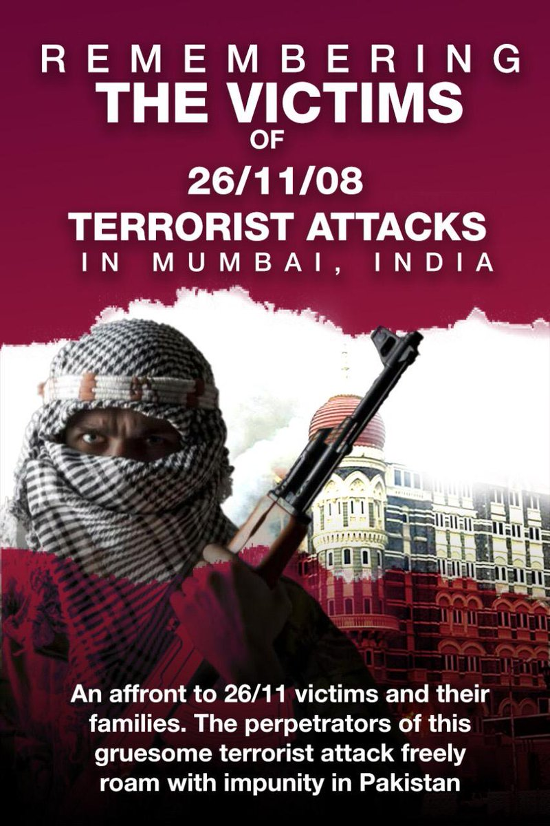 #JusticeforMumbaiAttacks  10 Pakistani terrorists killed 164 people of 16 nationalities apart from Indians. More than 10 locations including railway station, hospital, coffee shop, a Jewish outreach center and Taj Mahal Hotel targeted to get maximum kill. #26Nov_KillersRoamFree