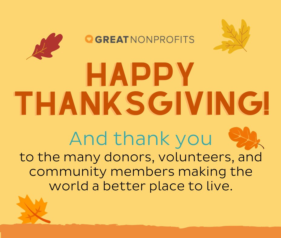 Happy Thanksgiving from GreatNonprofits!