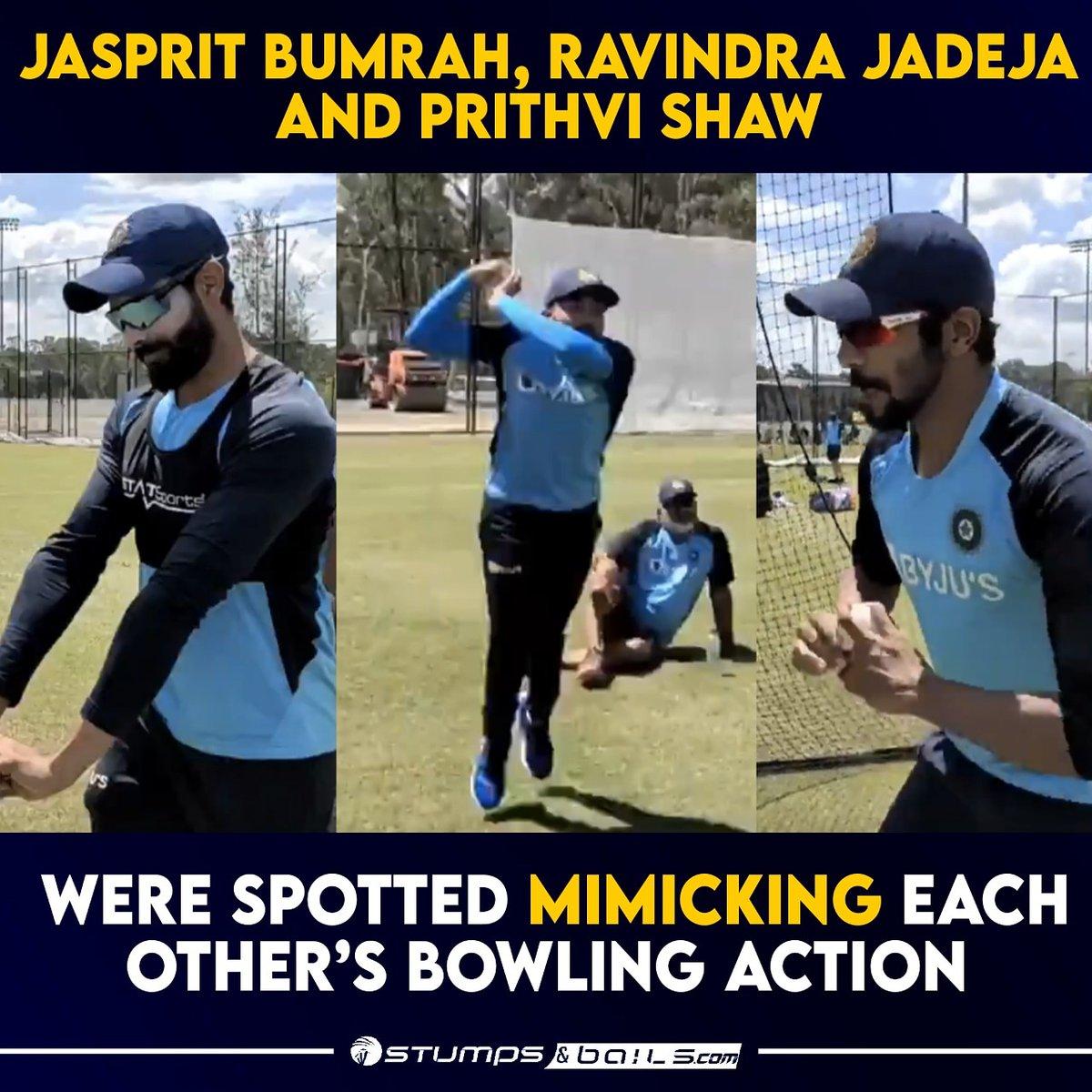 #TeamIndia having funtime in #Australia 😂👏  Follow us @stumpnbails #Indiancricketer #IndianCricketTeam #Cricket #Indiatourofaustralia  #indiatoaustralia #INDvsAus #indiavsaustralia #JaspritBumrah #RavindraJadeja #PrithviShaw