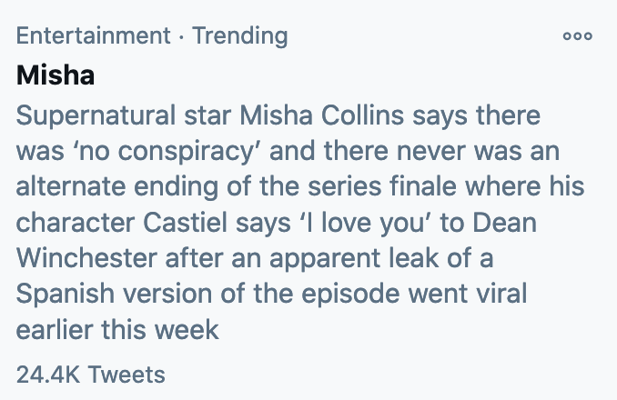 ever see a twitter trend description that was just blatantly written by someone who had no idea wtf they were talking about? #misha #theysilencedyou #theysilencedthem #canwepickahashtagplease