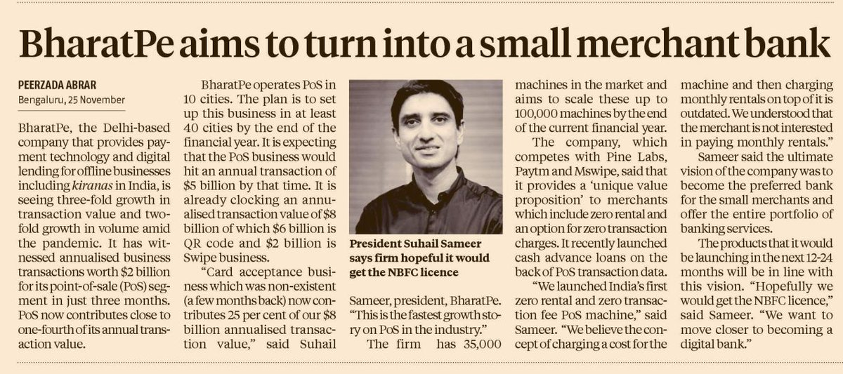Suhail Sameer, Group President, #BharatPe talks to @bsindia about the success of the POS business and the company's long-term vision to become a bank for the #smallbusinesses.  Read more:   #fintech #financialservices #swipe #cardpayments #digitalbank #SMEs