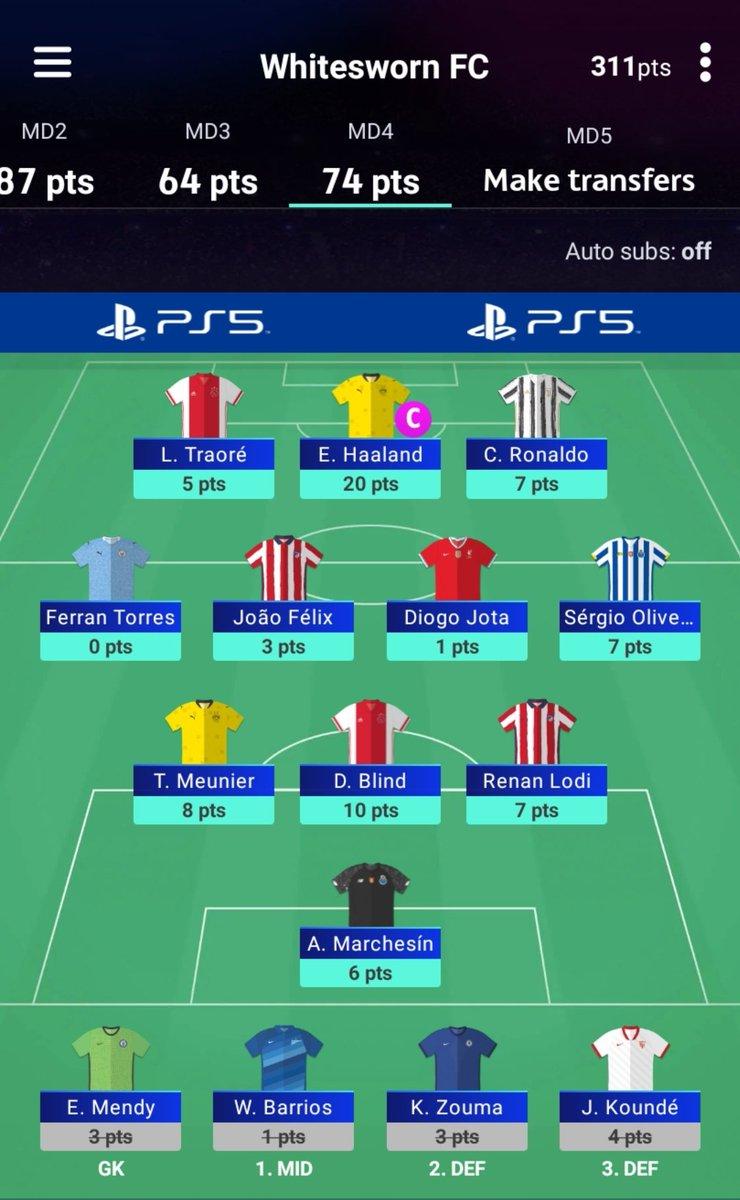 #UCLFantasy MD 4 result  74 pts  Messi (DNP) 🔄 Haaland (10) Kimmich (DNP) 🔄 Meunier (8) Coman (12) 🔄 Jota (1)  - Captain Haaland ✅ - Transfer out Coman for Jota 😅  🌐 OR 1724 ⬆️ (prev. 2474)