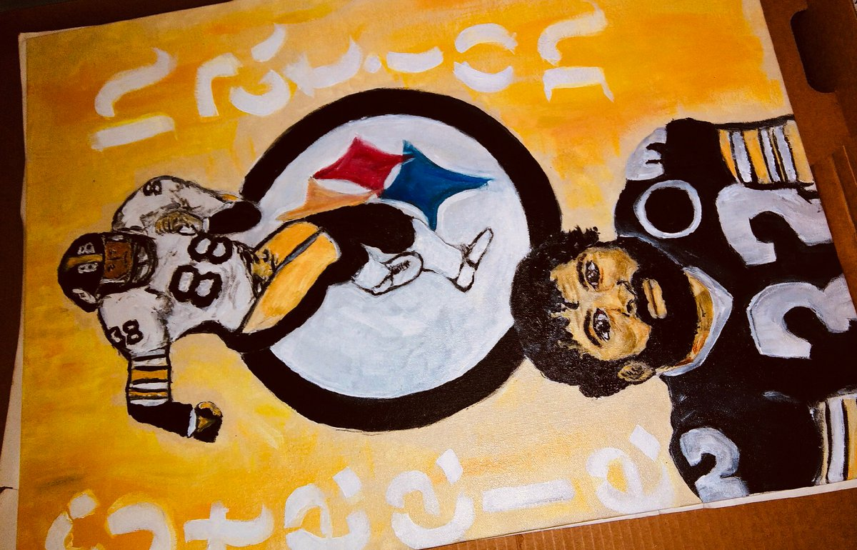 @steelers #steelers painting I did! Represent 👩🏽‍🎨 LOCS ARTIST (commission piece). 🎨