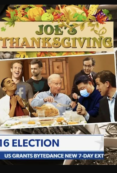 """This is the Thanksgiving Card I had designed for @JoeBiden (Who is NOT president-elect)—-some of the """"pals"""" he has to think for this temporary ILLUSION that he won anything.  (The guy in the mask is China President Xi. You know the rest!)"""