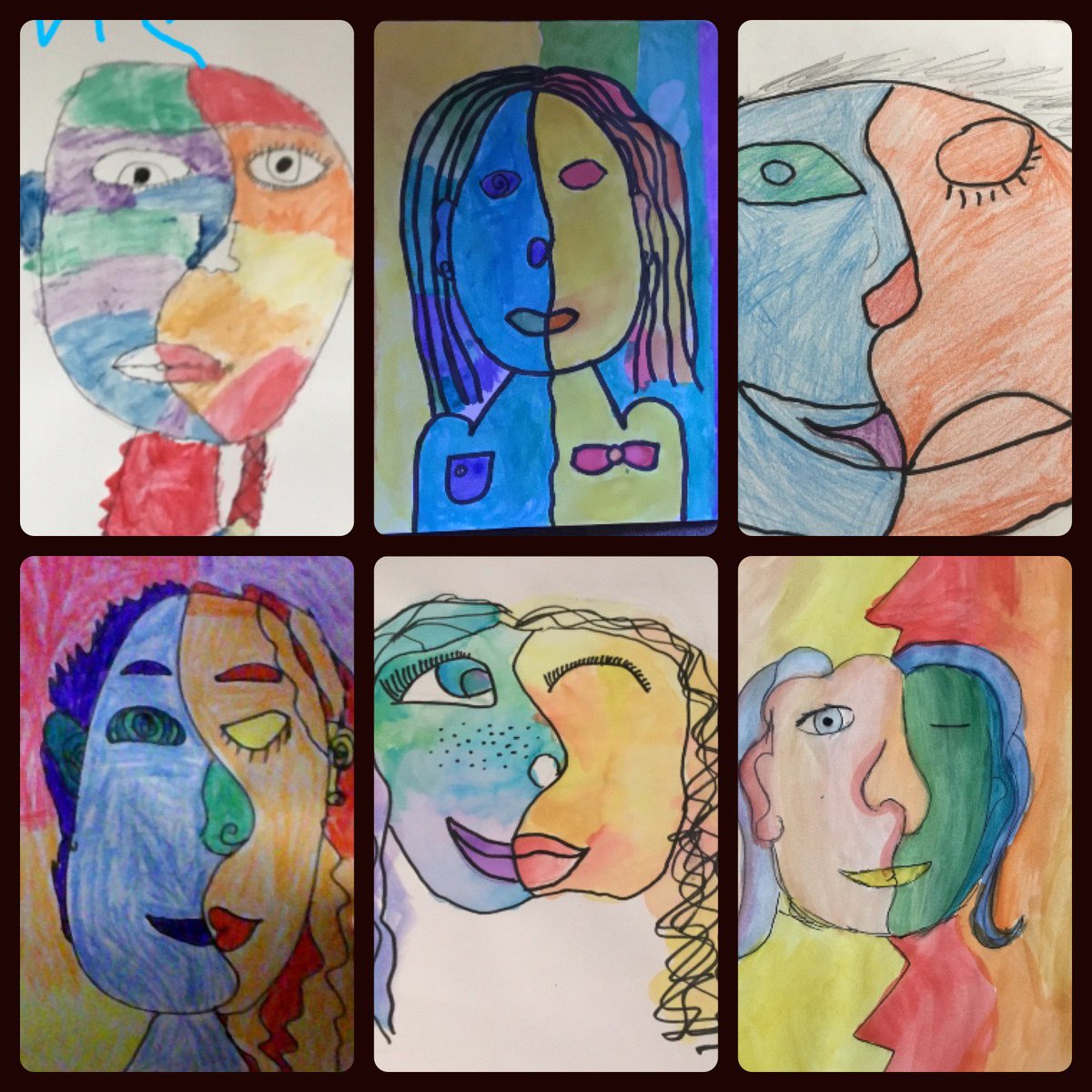 So proud of 5th grade artists making self-portraits inspired by Picasso while demonstrating mastery of warm/cool colors. <a target='_blank' href='http://twitter.com/APSArts'>@APSArts</a> <a target='_blank' href='http://twitter.com/APS_ATS'>@APS_ATS</a> <a target='_blank' href='http://twitter.com/perezartlove'>@perezartlove</a> <a target='_blank' href='https://t.co/UDGmgbsxka'>https://t.co/UDGmgbsxka</a>